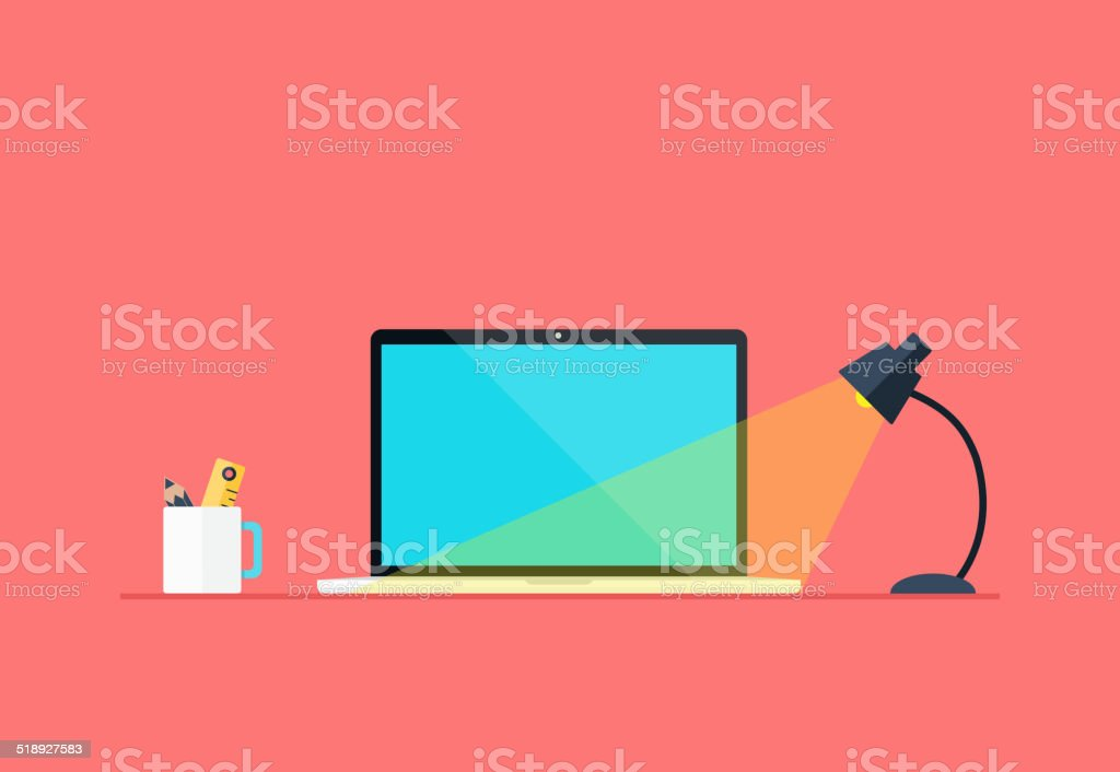 Flat Workspace vector art illustration