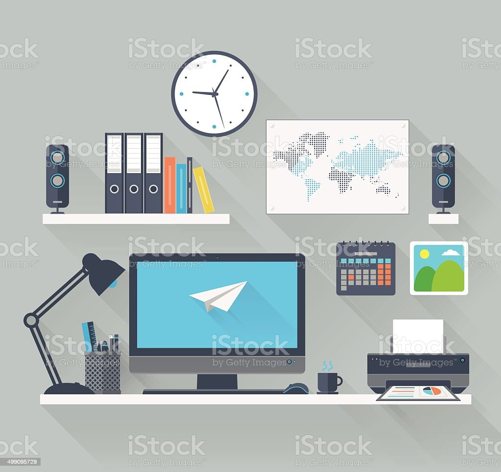 Flat workspace with long shadow vector art illustration