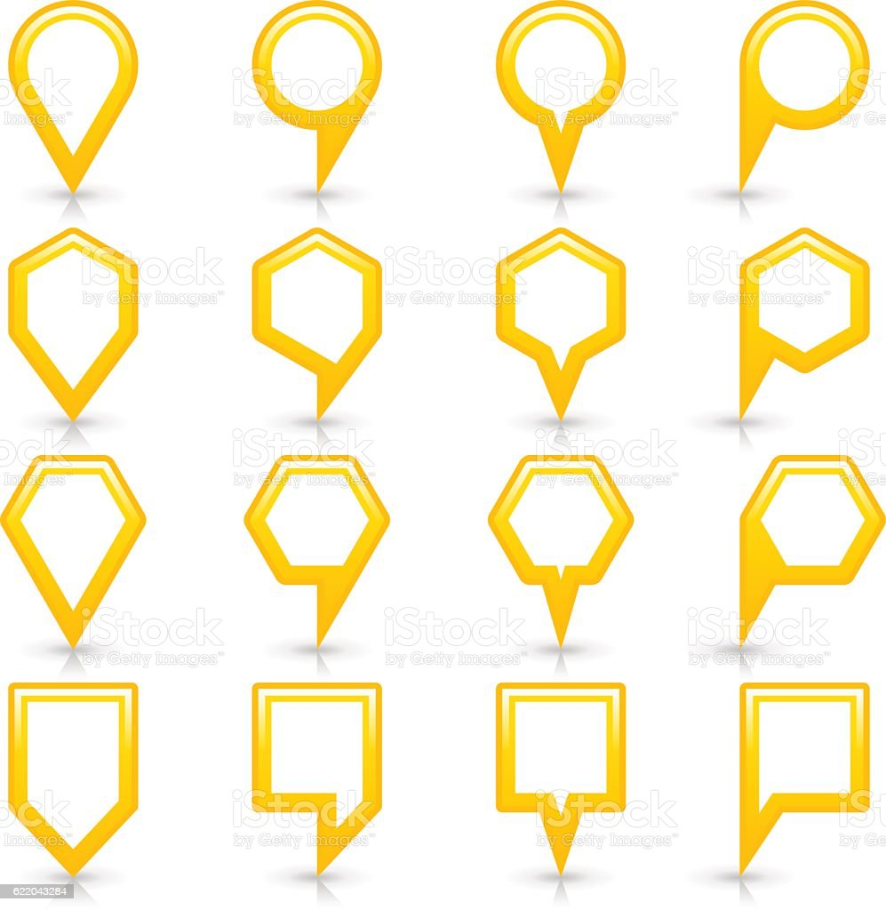 Flat yellow color map pin sign location icon vector art illustration