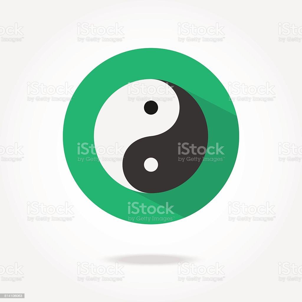Flat yin yang icon. vector art illustration