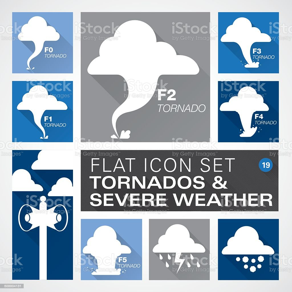 Flat19 icons - Tornados & Severe Weather vector art illustration