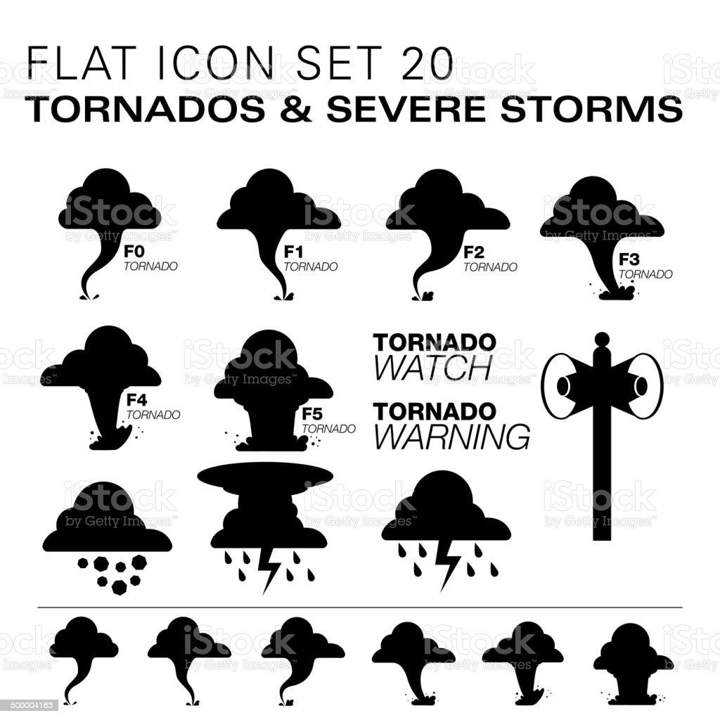 Flat20 icons- Tornados & Severe Storms vector art illustration