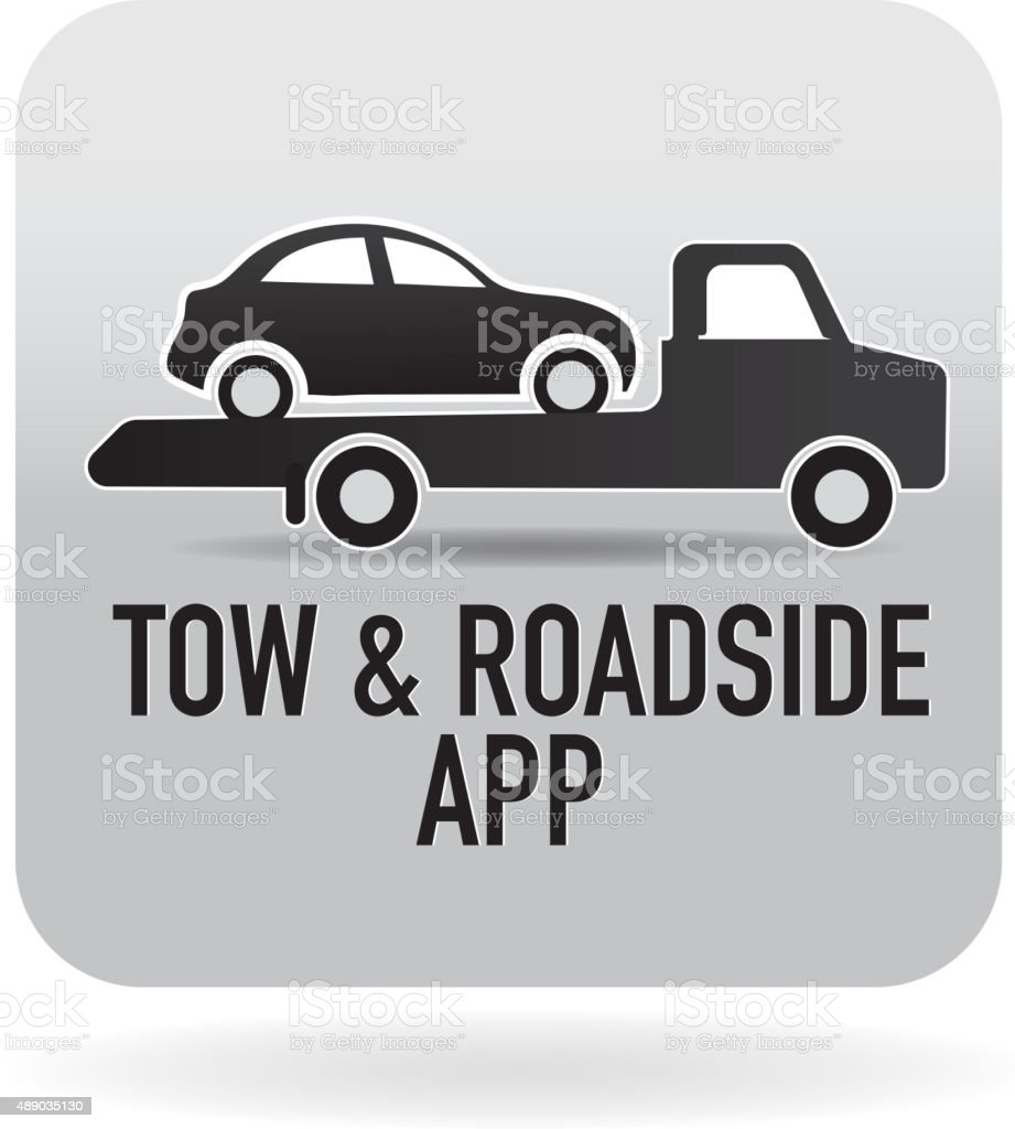 Flatbed Tow and roadside assistance phone app icon vector art illustration