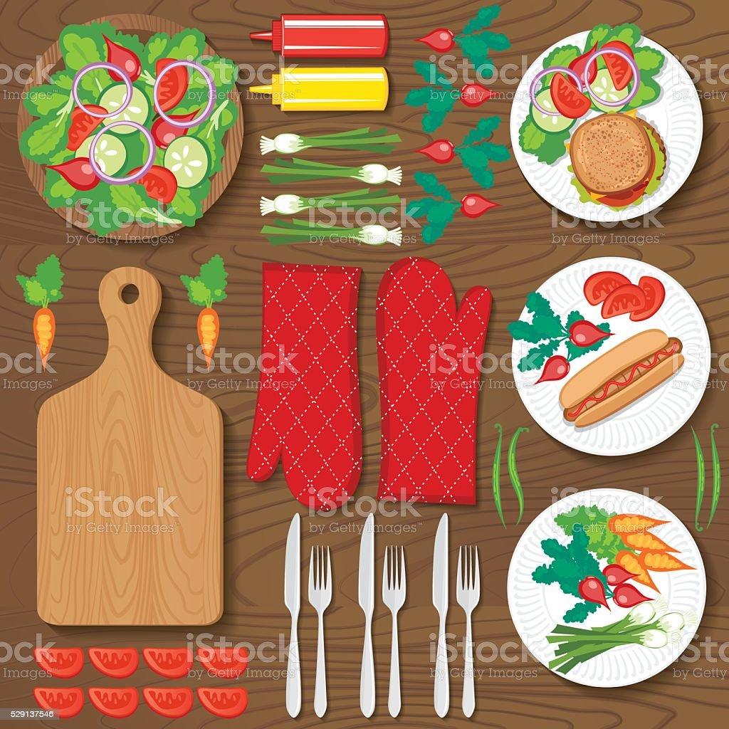 Flatlay Arrangement of Picnic Foods vector art illustration