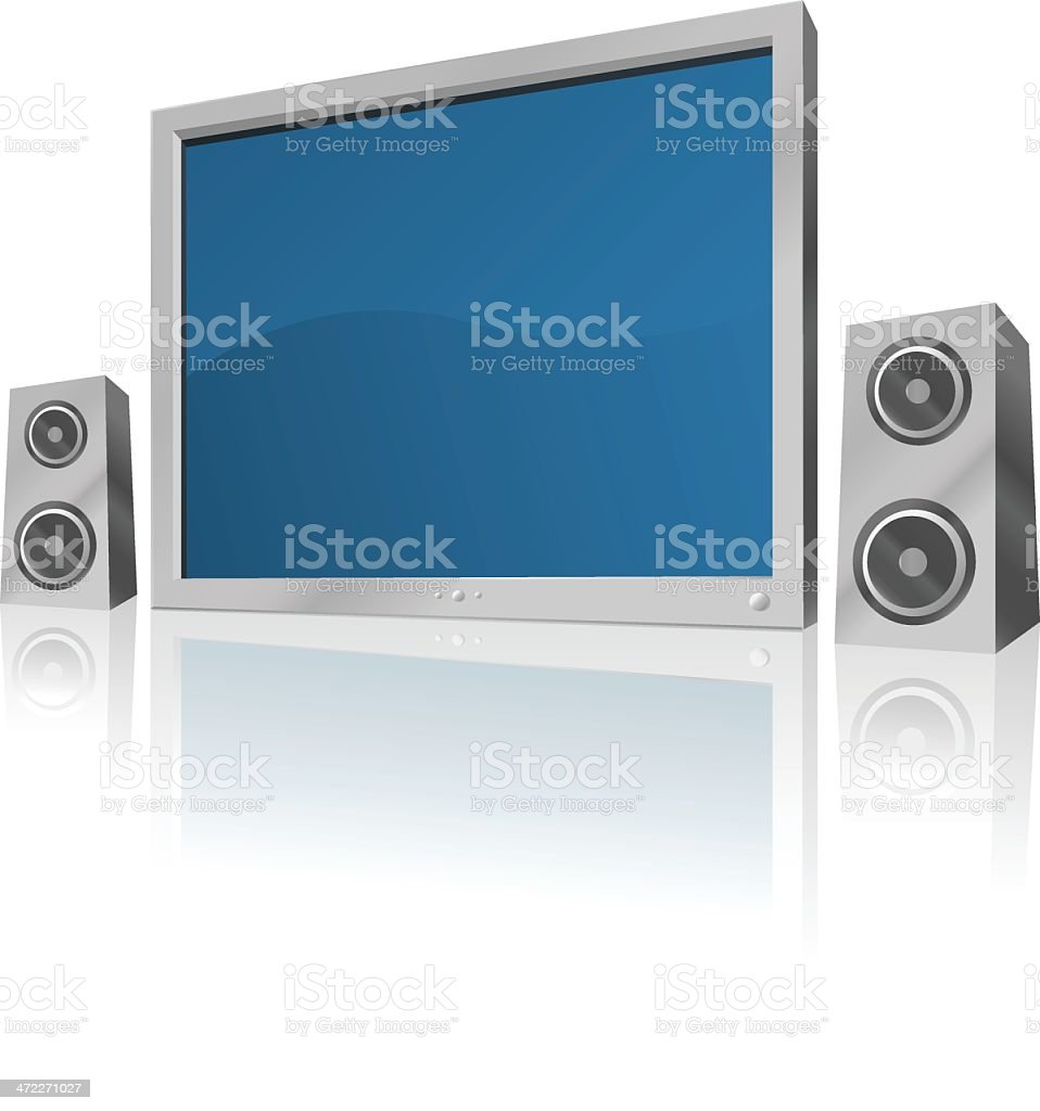 Flatscreen TV and Speakers [vector] royalty-free stock vector art