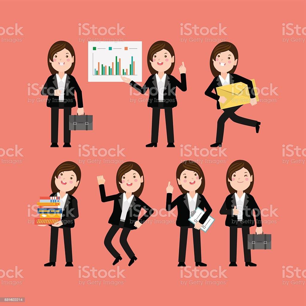 Flatten Set - Set of businesspeople vector art illustration