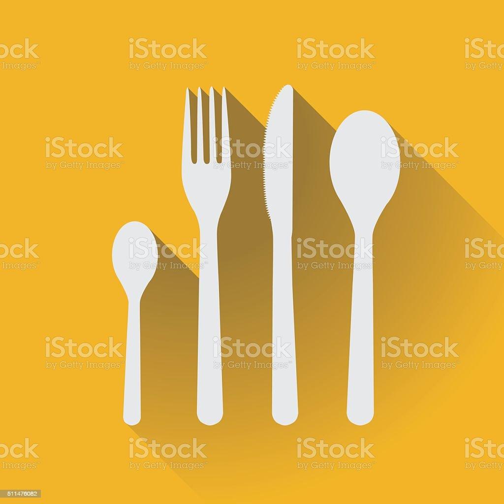 Flatware - spoons, fork and knife vector art illustration