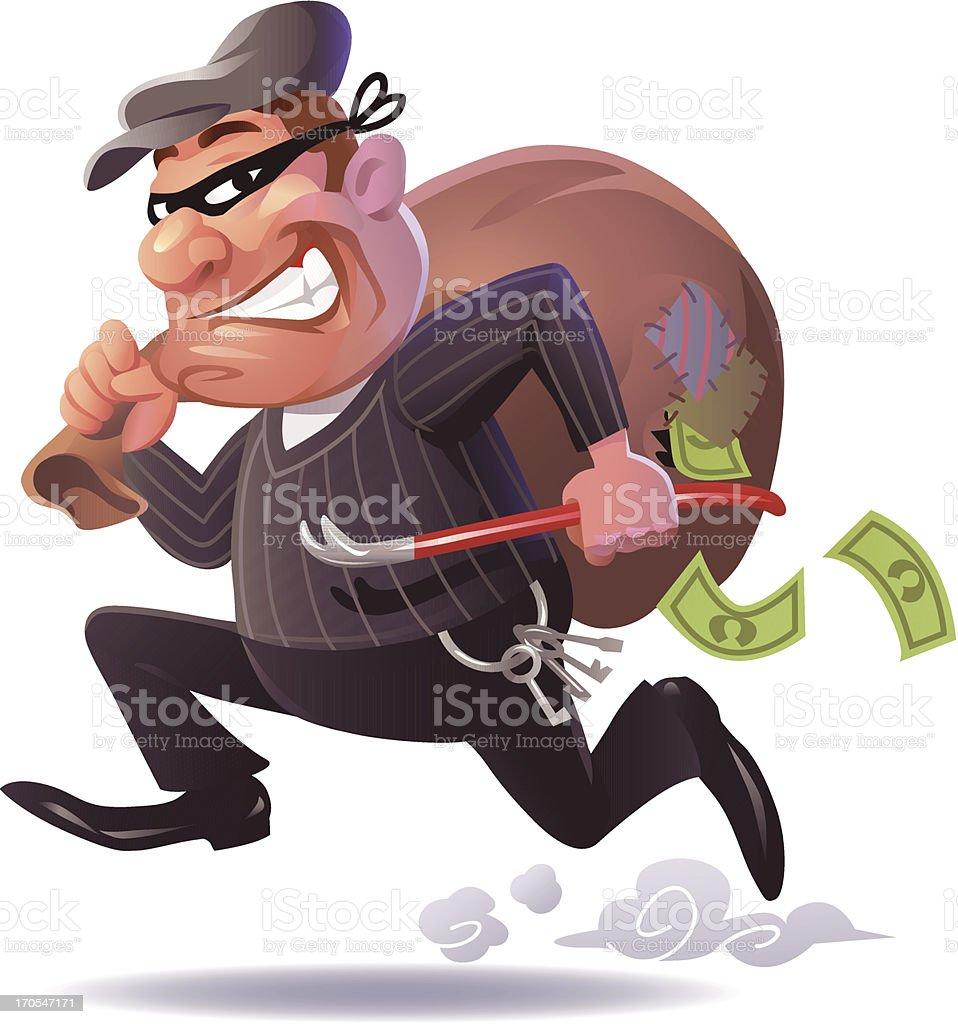 Fleeing Burglar vector art illustration