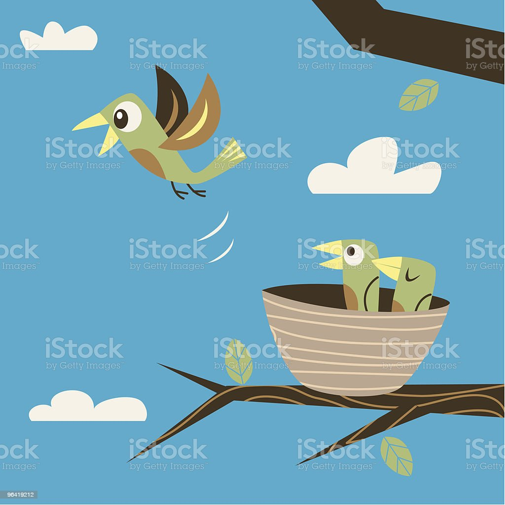 Fleeing the nest vector art illustration