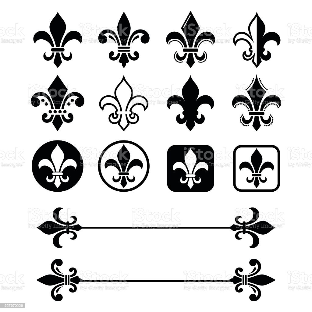 Fleur de lis - French symbol design, Scouting organizations, French heralry vector art illustration