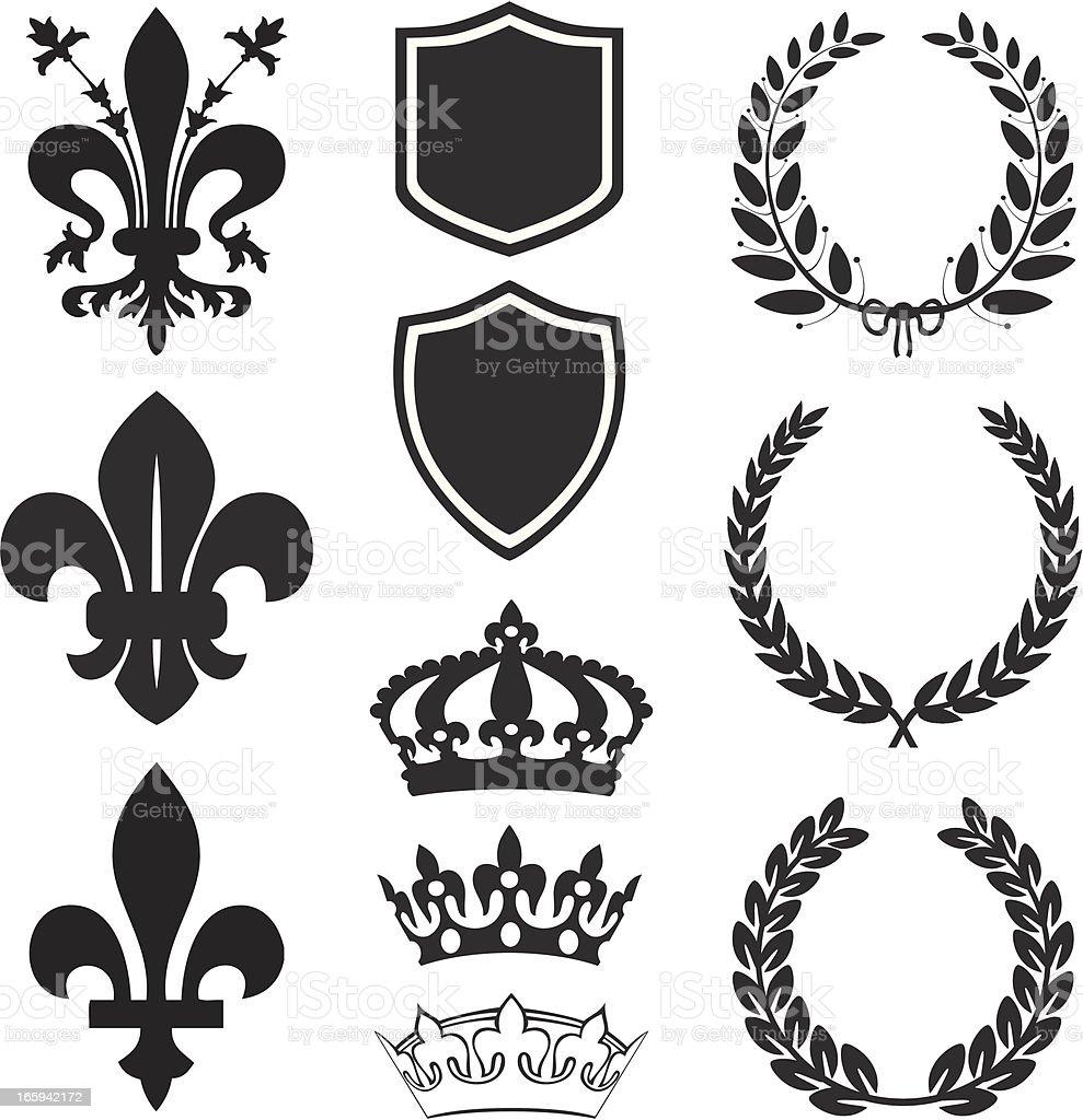 Fleur De Lis Heraldry Set royalty-free stock vector art