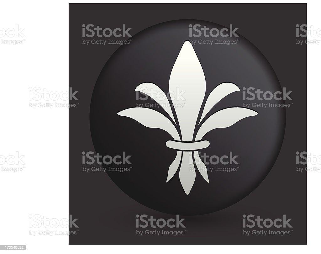 Fleur De Lis Icon on Round Black Button Collection royalty-free stock vector art