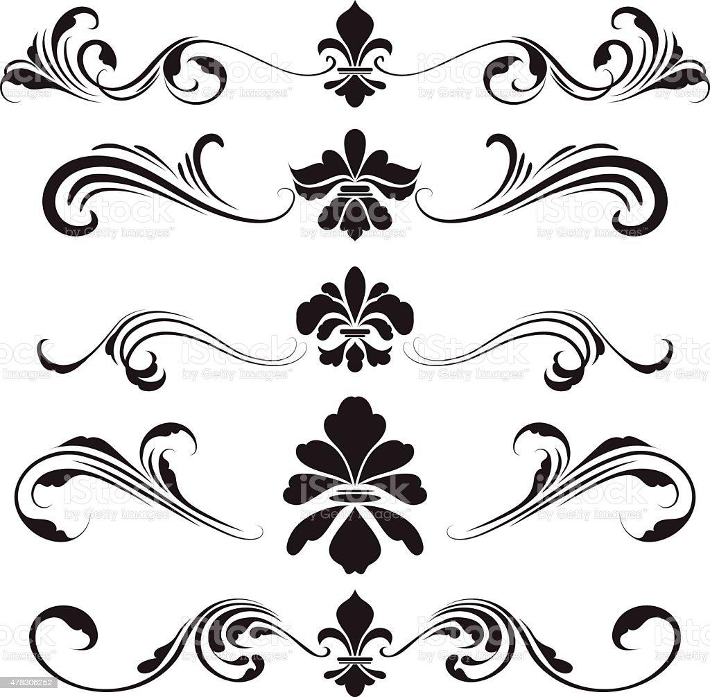fleur de lis ornament vector art illustration