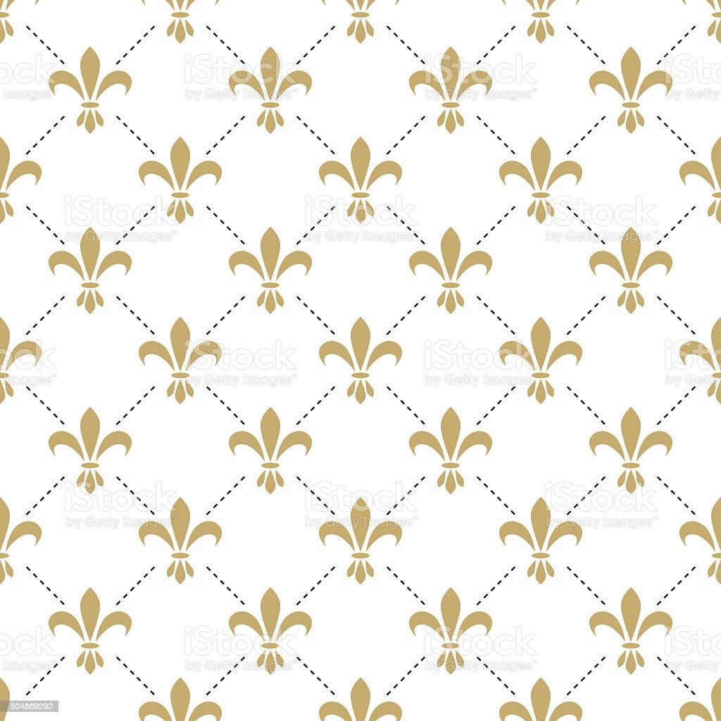 Fleur de lis seamless vector pattern. French vintage stylized lily vector art illustration