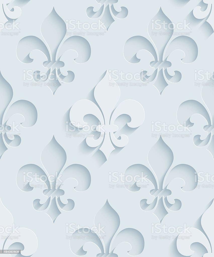 Fleur De Lys 3D Seamless Wallpaper Pattern. vector art illustration