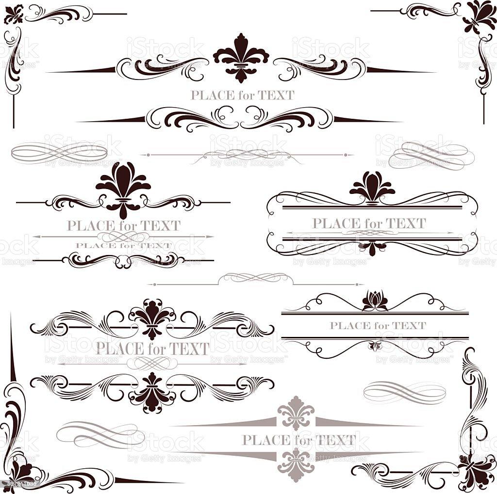fleur de lys calligraphy design vector art illustration