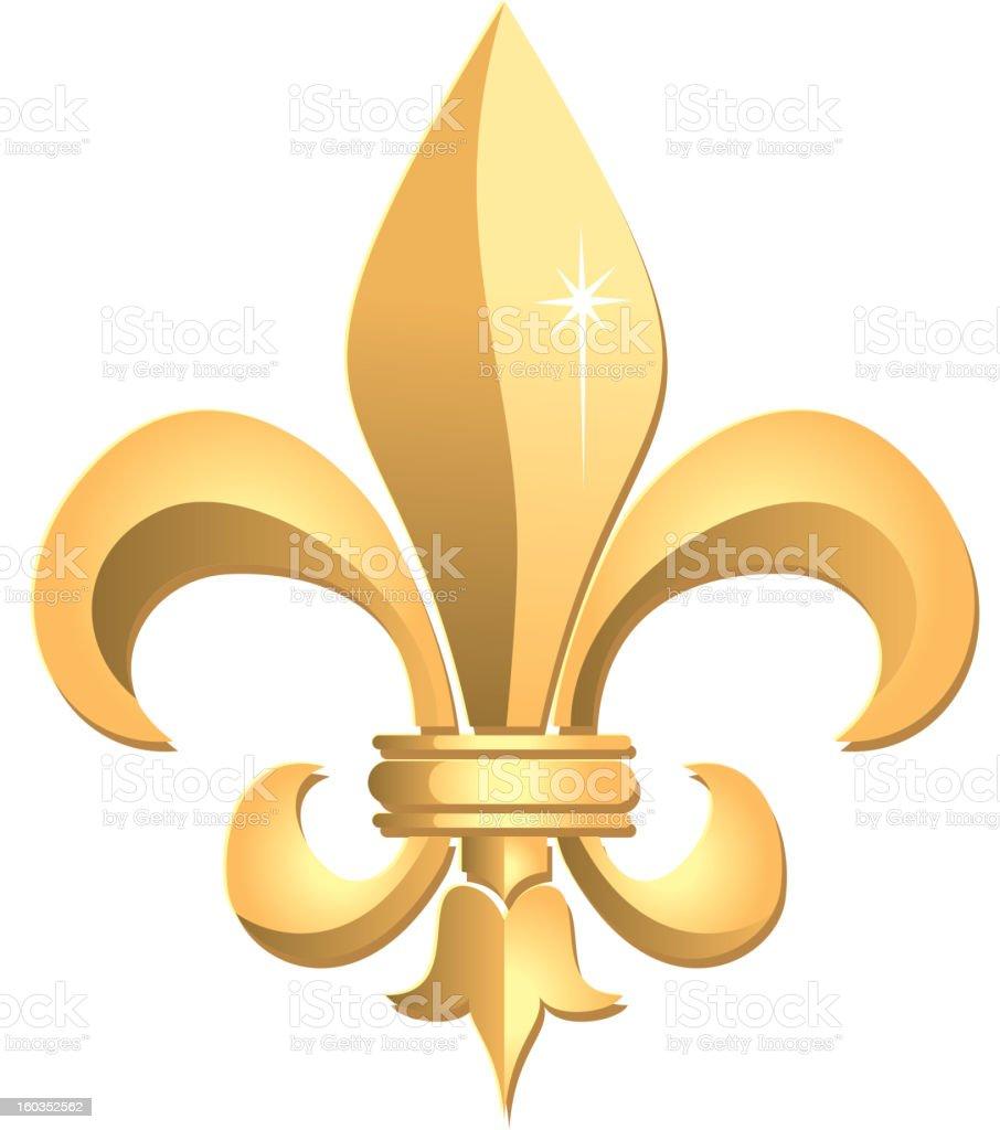 Fleur de Lys in Gold vector art illustration