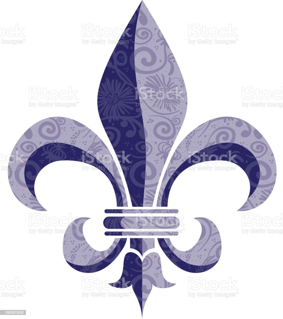 Fleur de Lys in Purple Floral royalty-free stock vector art