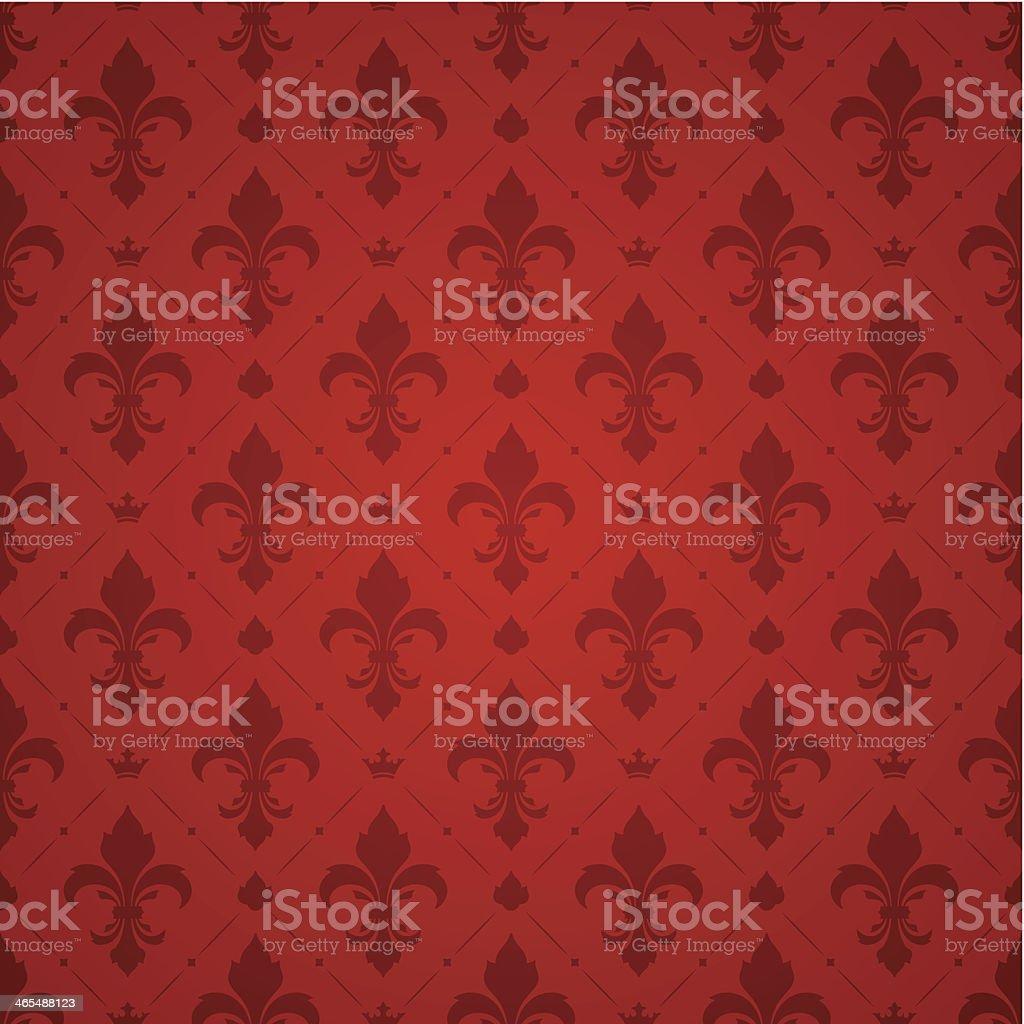 Fleur De Lys Red Pattern vector art illustration