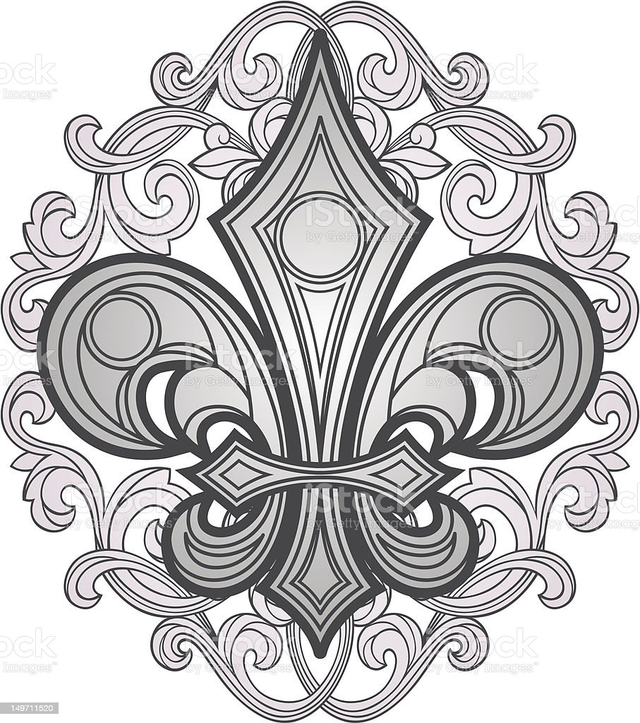 Giglio araldico shield illustrazione royalty-free