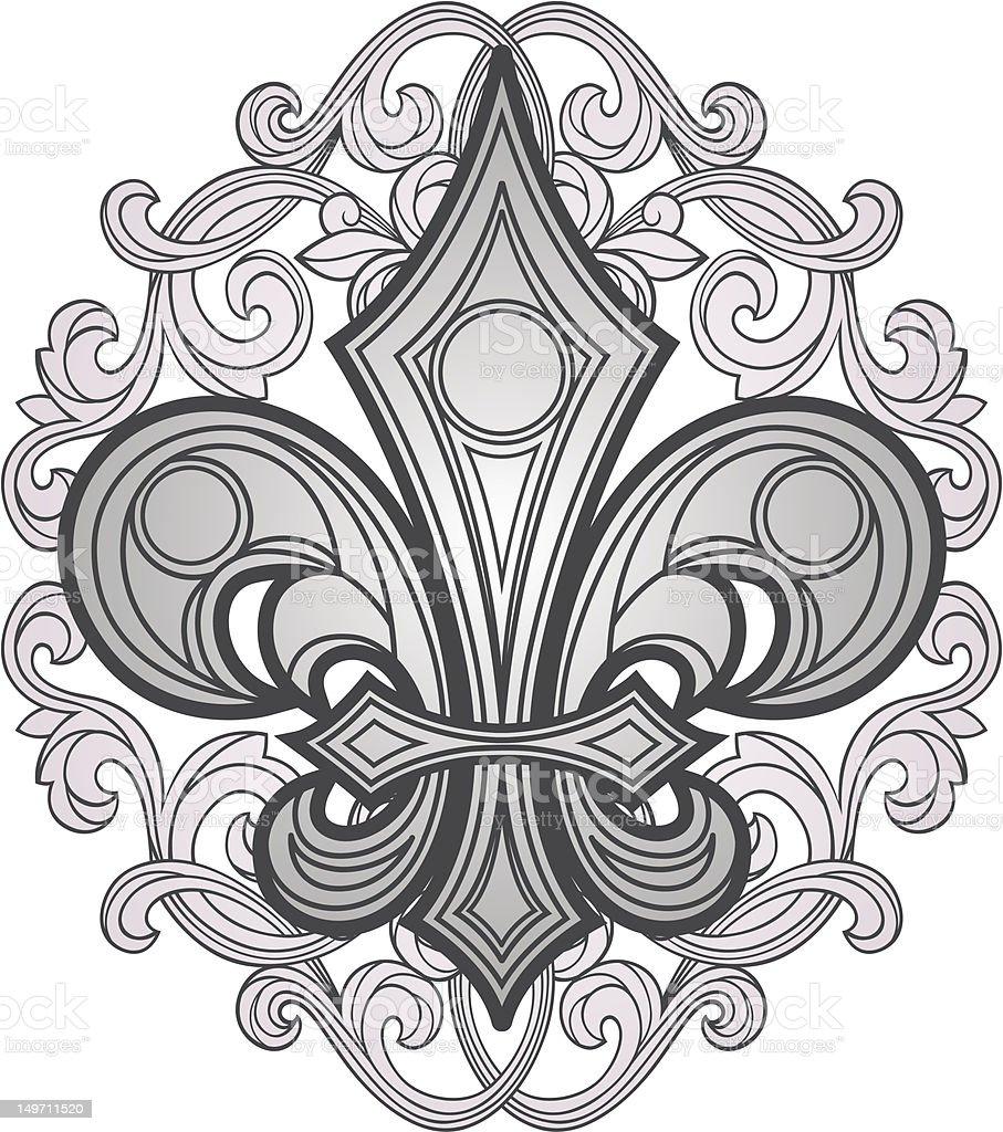 fleur de lys shield vector art illustration