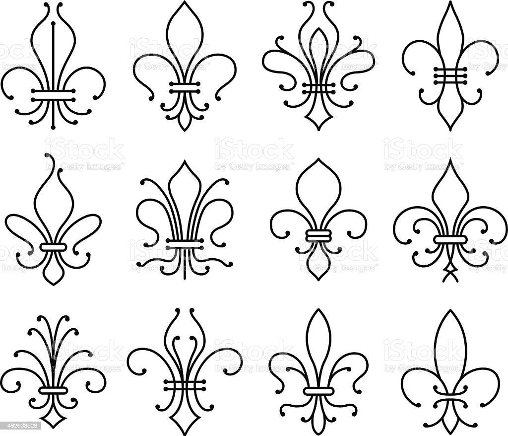 fleur de lys symbol set vector art illustration