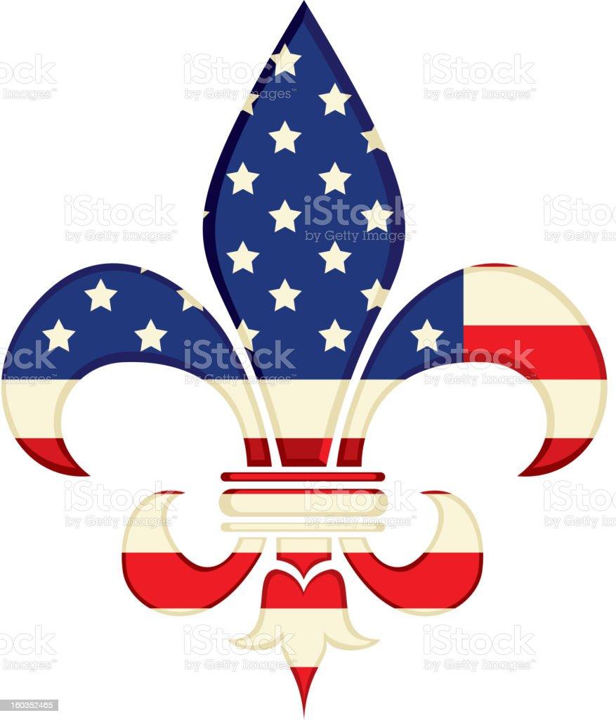 Fleur de Lys with American Flag design royalty-free stock vector art