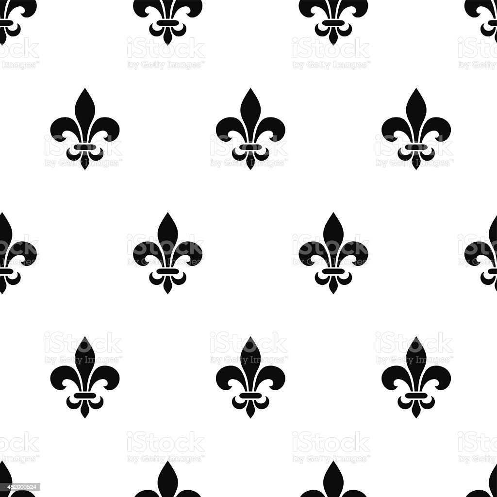 Fleur-de-lis black and white seamless pattern. Vector illustration. vector art illustration