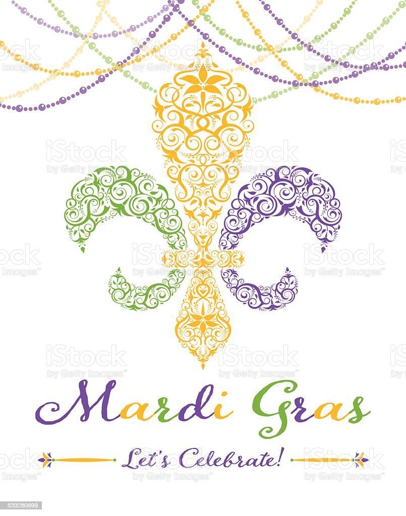 Fleur-de-lis Mardi Gras Party Invitation vector art illustration
