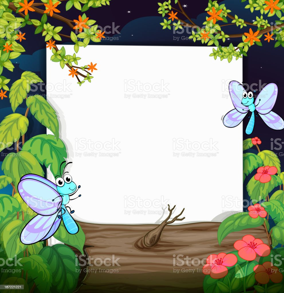 Flies and a white board royalty-free stock vector art