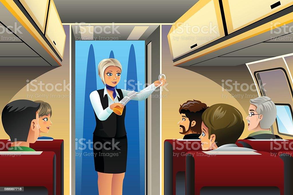 Flight Attendant doing Safety Demonstration vector art illustration