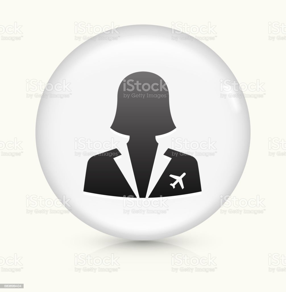 Flight Attendant icon on white round vector button vector art illustration