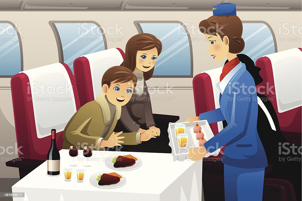 Flight attendant in an airplane vector art illustration
