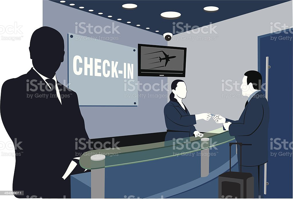 Flight check in vector art illustration