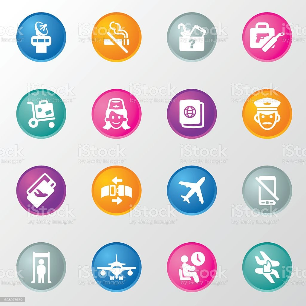 Flight Circle Color Icons vector art illustration