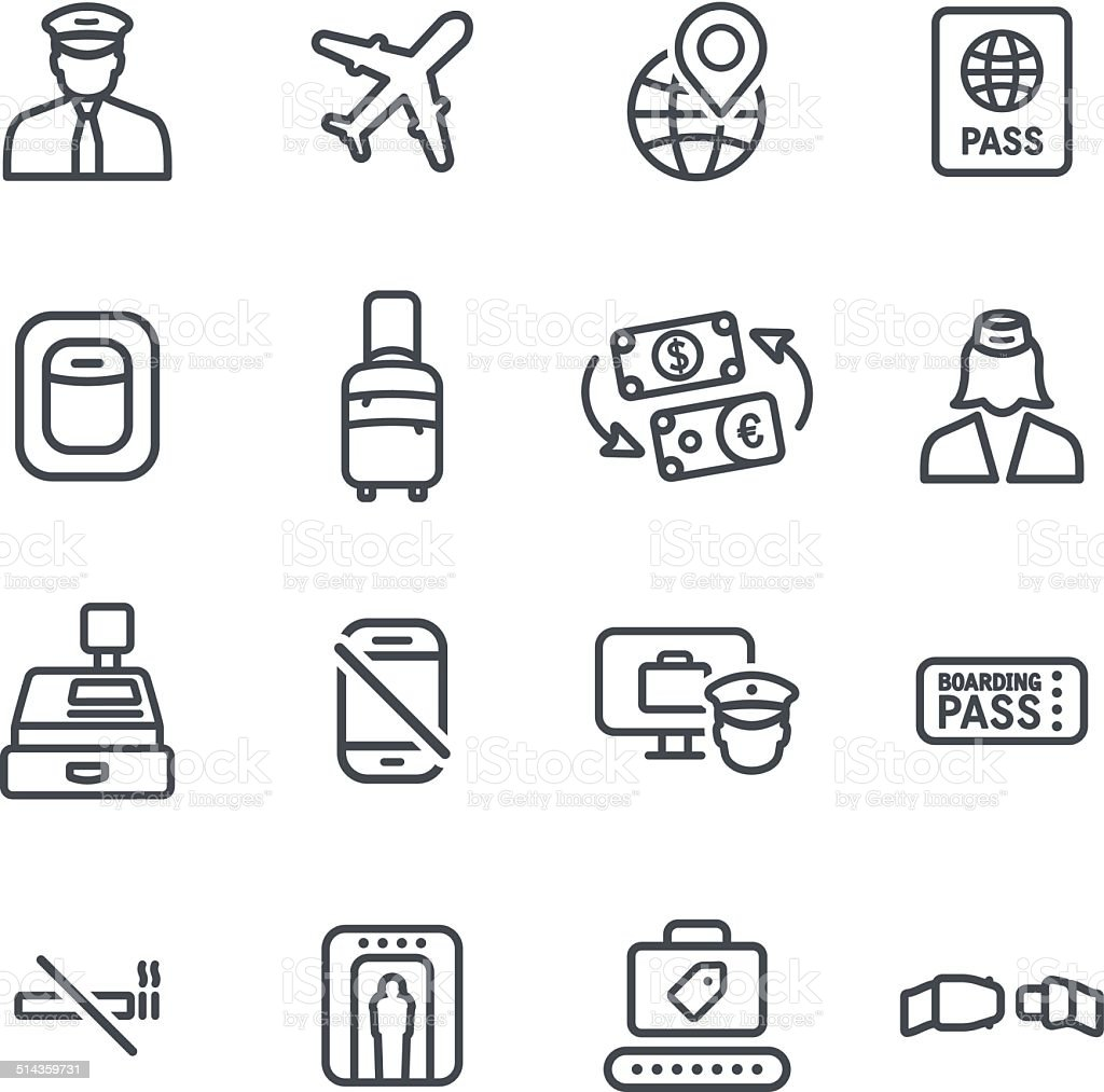 Flight Icons vector art illustration