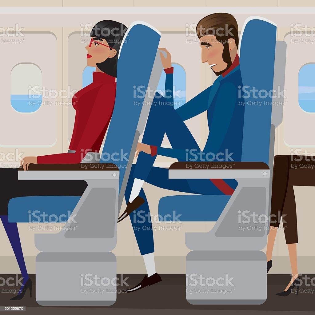 Flight in economy class vector art illustration