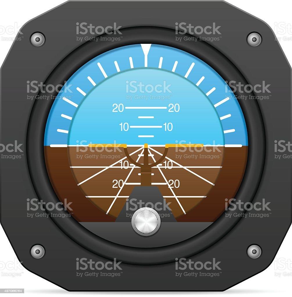 Flight instrument attitude indicator vector art illustration
