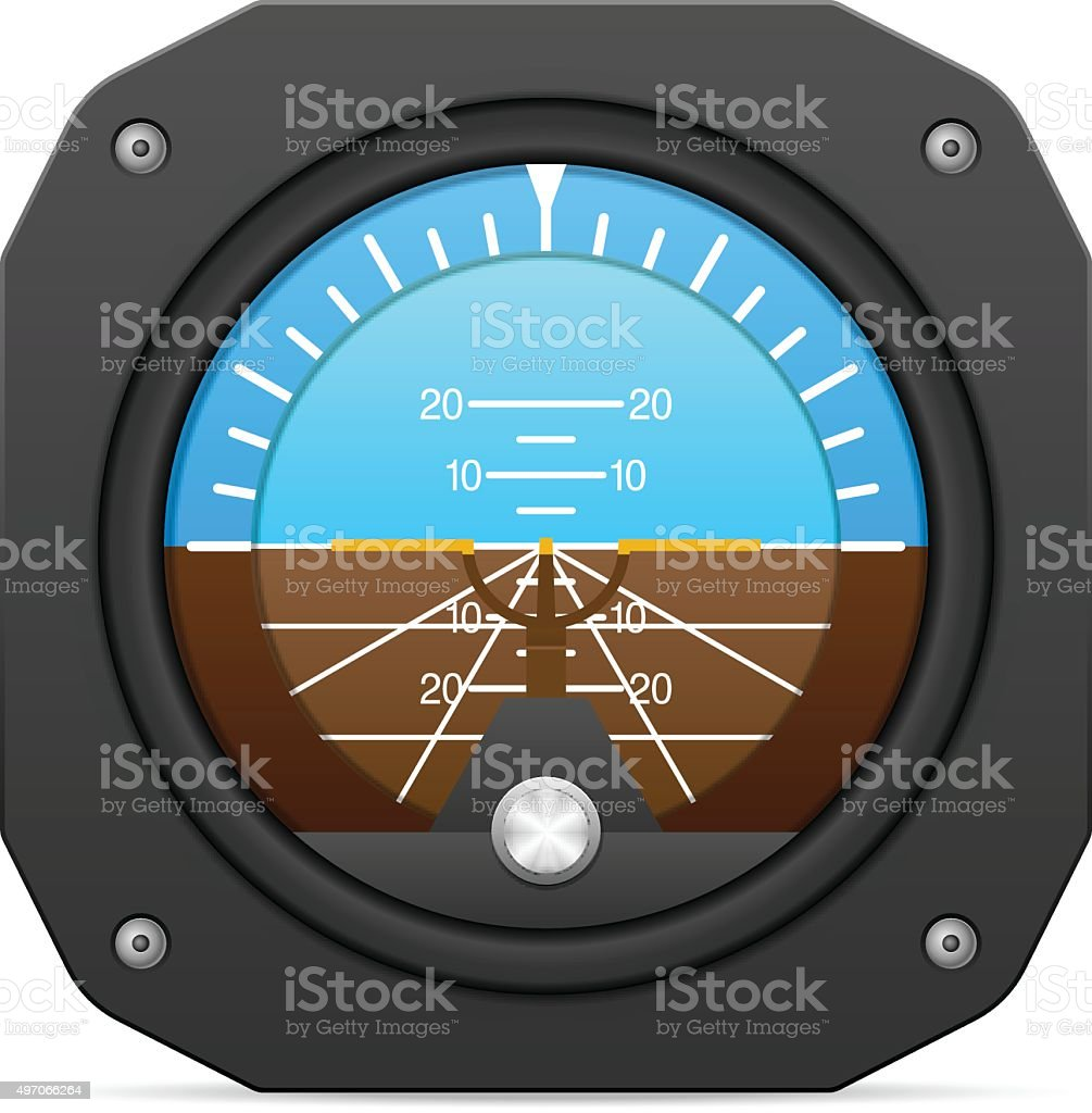 Flight instrument attitude indicator vector art illustration