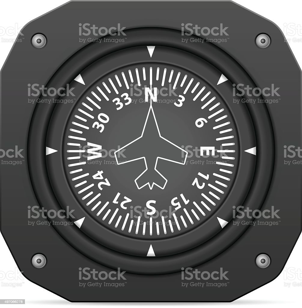Flight instrument heading indicator vector art illustration
