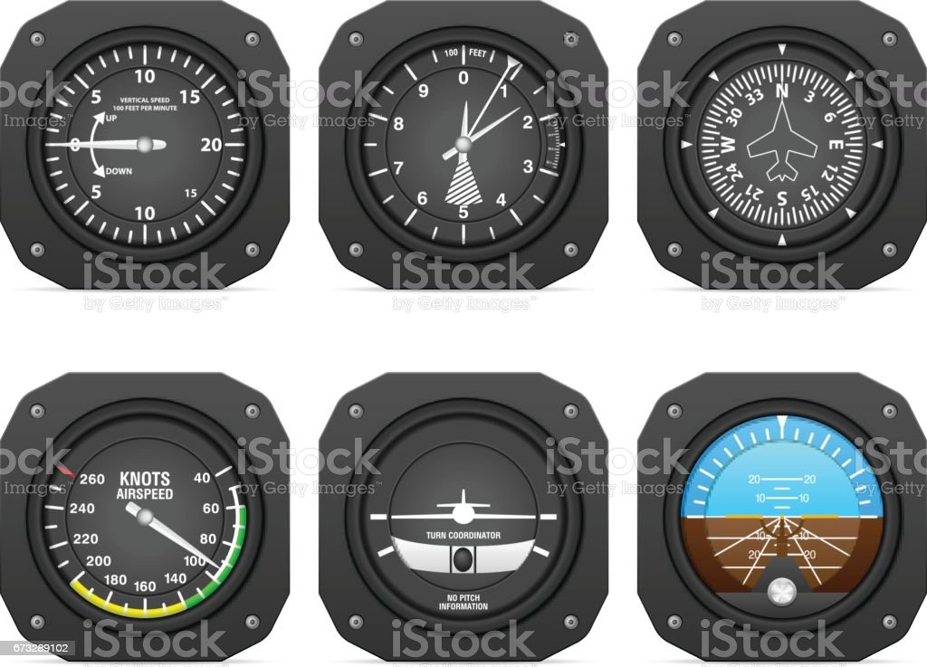 Flight instruments vector art illustration