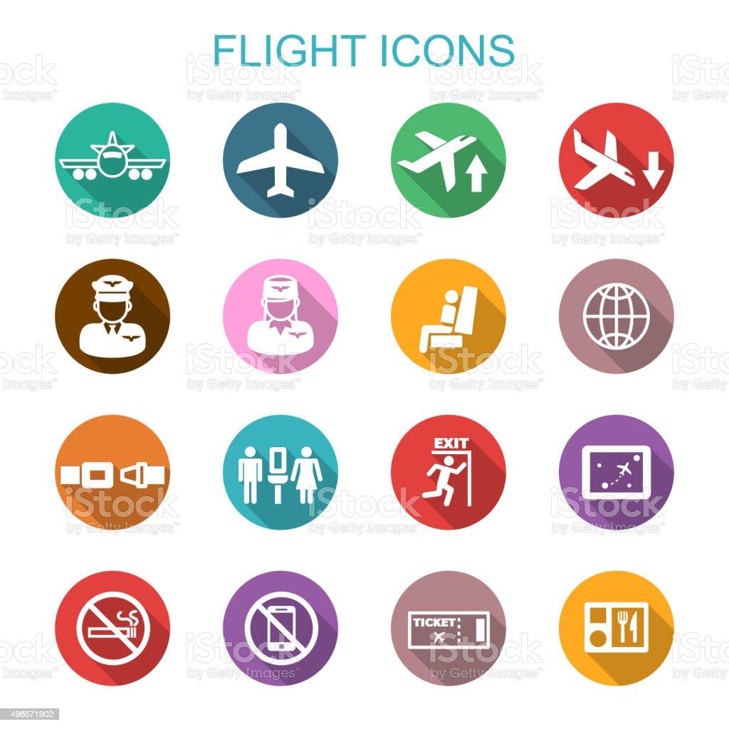 flight long shadow icons vector art illustration