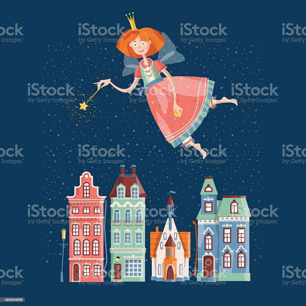 Flight of the tooth fairy over the night city. vector art illustration