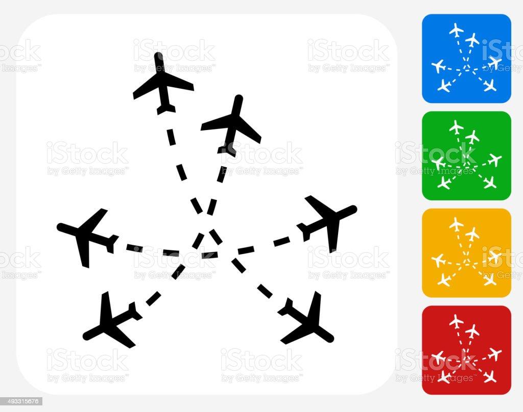 Flight Routes Icon Flat Graphic Design vector art illustration