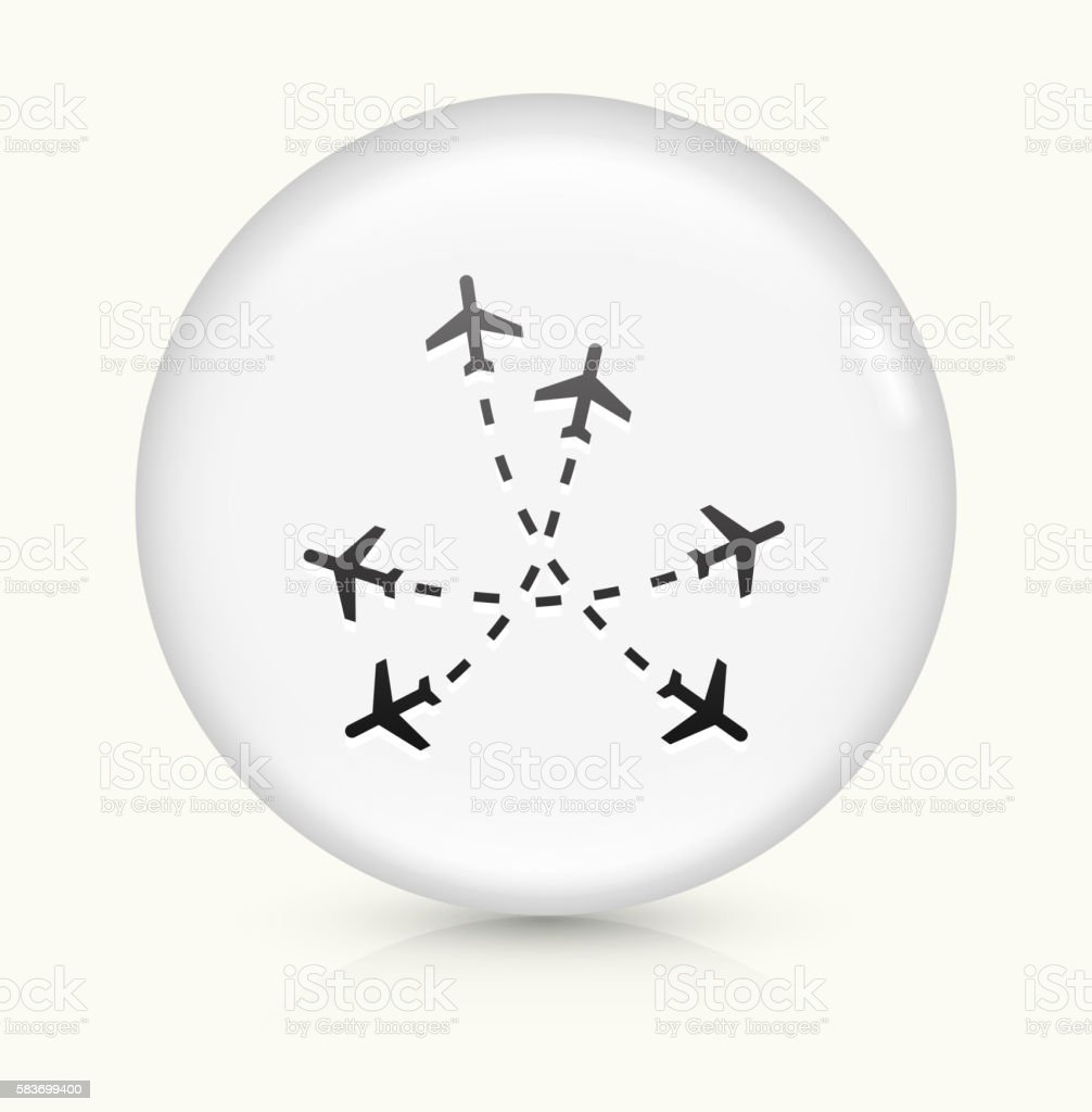 Flight Routes icon on white round vector button vector art illustration