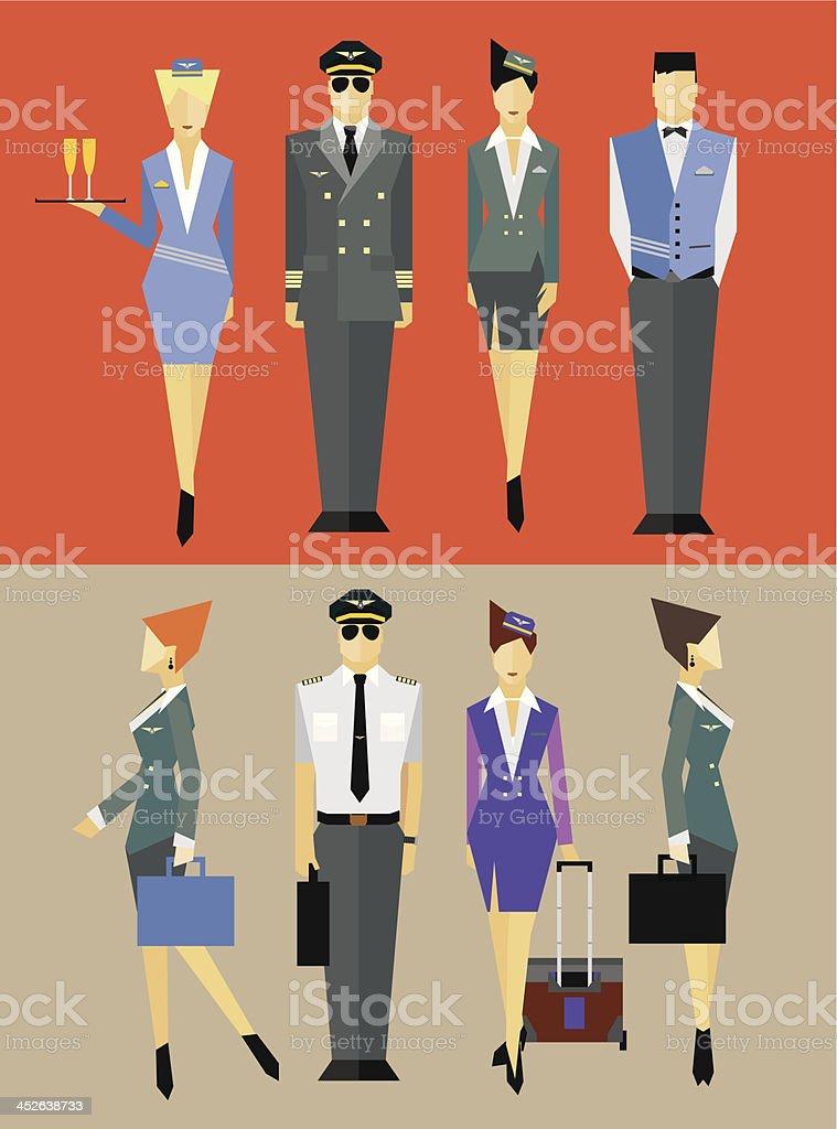 Flight team captain and attendants vector art illustration