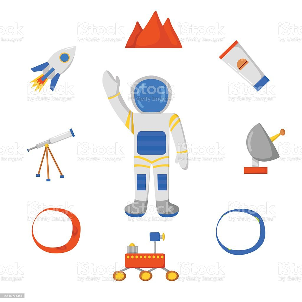 Flight to Mars vector art illustration