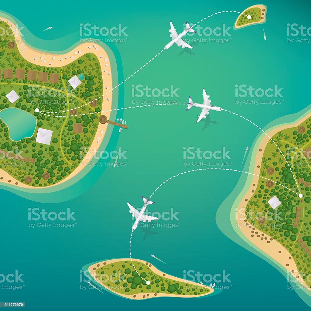 Flights between the tropical islands with beaches vector art illustration