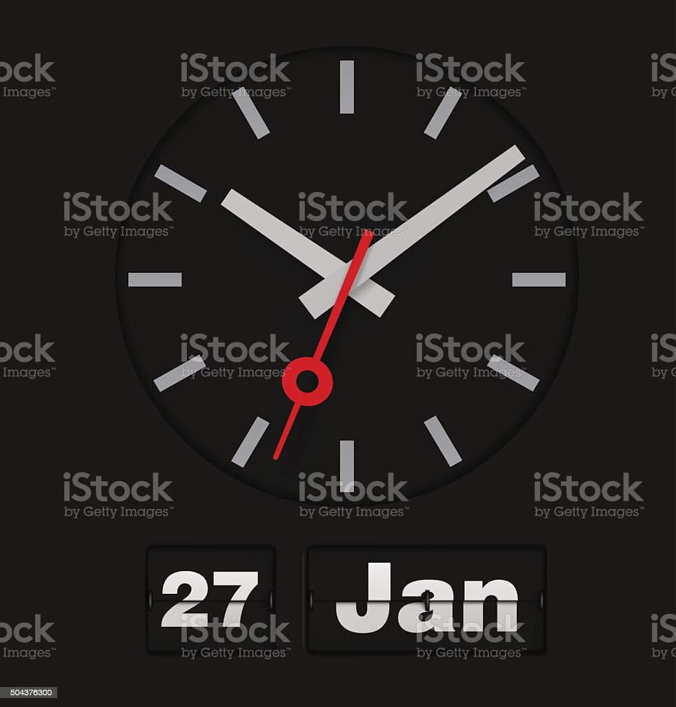 Flip calendar and analog timer on black background. Vector illus vector art illustration