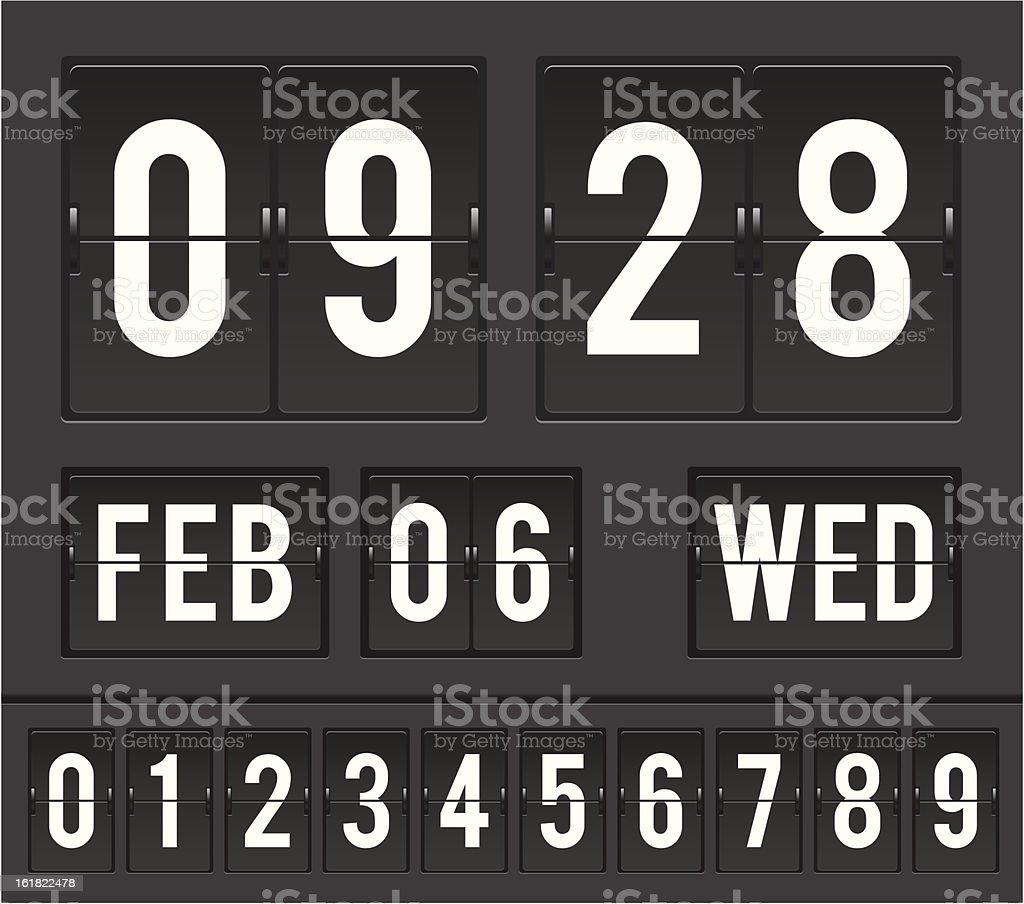 flip clock countdown timer vector art illustration